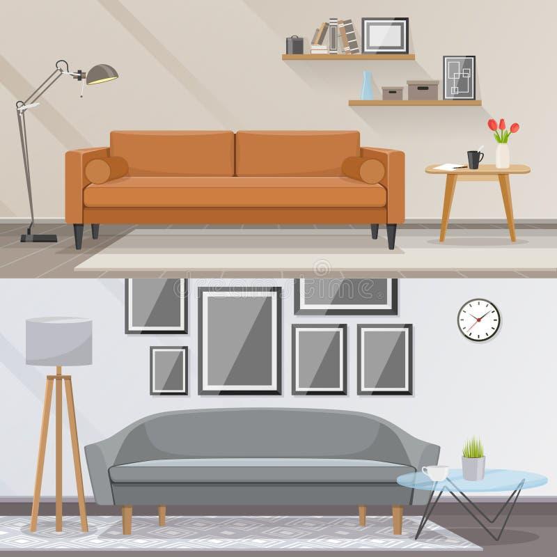 Elementos do conceito do vetor da mobília do interior e da sala de visitas Projeto interior à moda ilustração do vetor