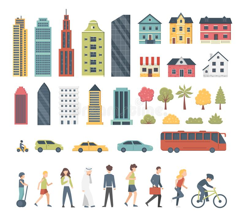 Elementos do construtor da cidade no estilo dos desenhos animados com árvores, casas, transporte e peopple Arquitetura moderna da ilustração royalty free