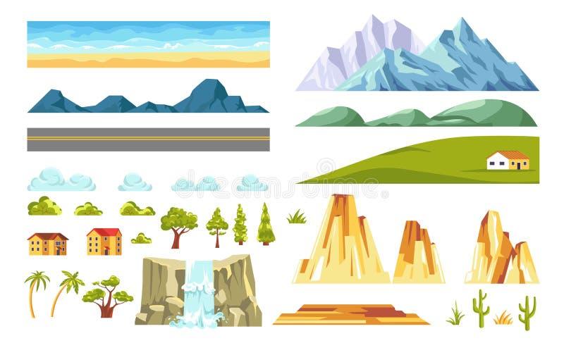 Elementos do construtor da paisagem e da natureza Vetor liso ilustração royalty free