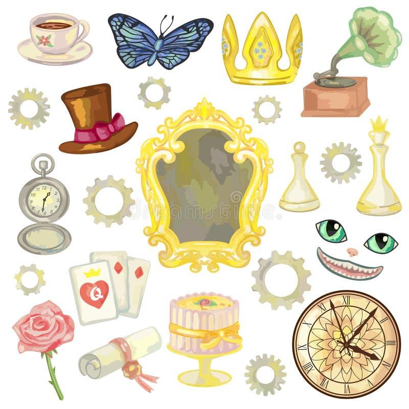 Elementos do conto de fadas ilustração do vetor