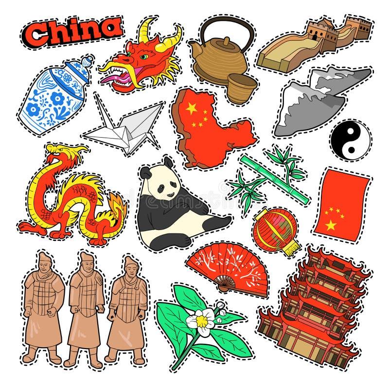 Elementos do curso de China com arquitetura e panda ilustração stock