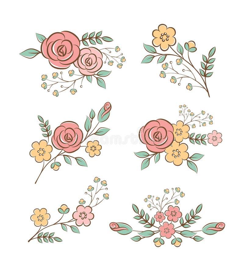 Elementos do design floral ilustração royalty free