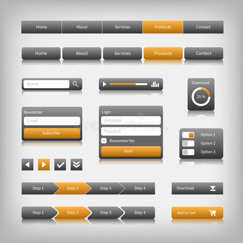 Elementos do design web com reflexão ilustração do vetor