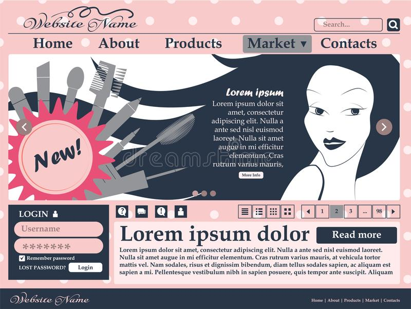 Elementos do design web em cores cor-de-rosa e pretas para o local dos cosméticos das mulheres molde ilustração stock