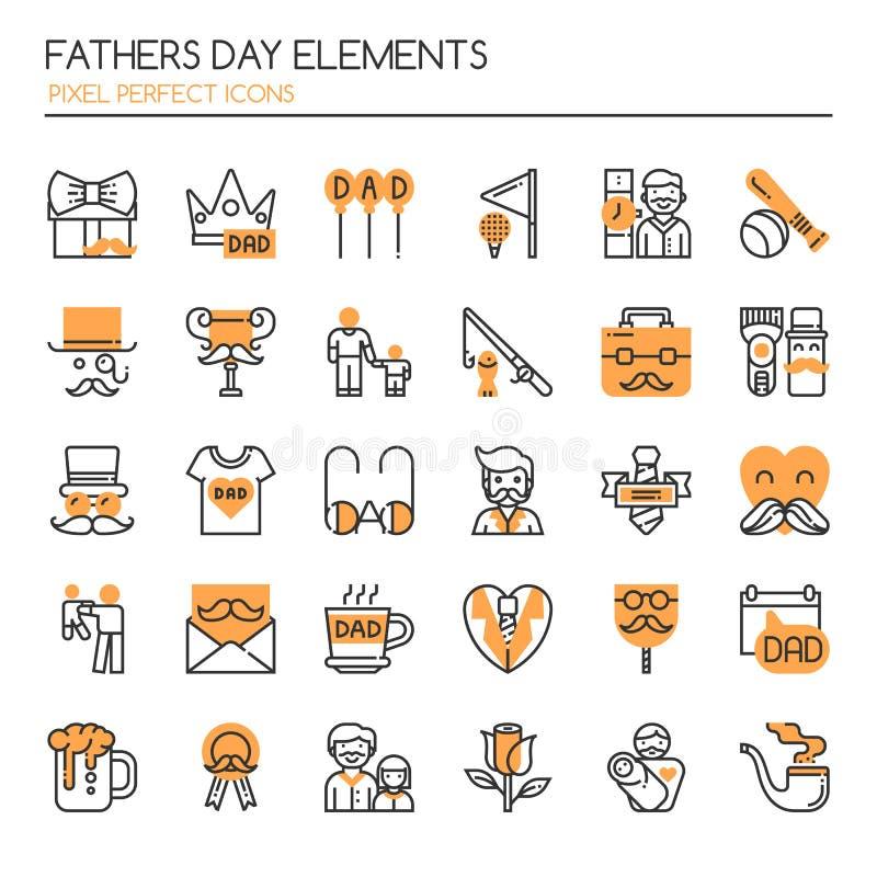 Elementos do dia de pais ilustração do vetor