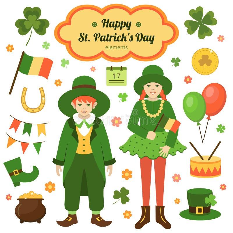 Elementos do dia do ` s de St Patrick ilustração royalty free