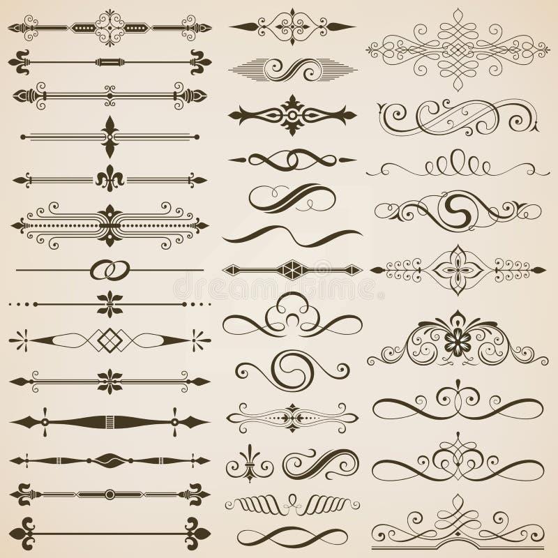 Elementos do divisor e do projeto da página ilustração stock