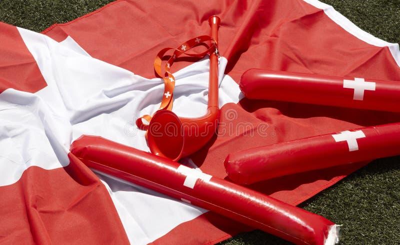Elementos do elogio e da celebração do fã de esportes de Suíça fotos de stock royalty free