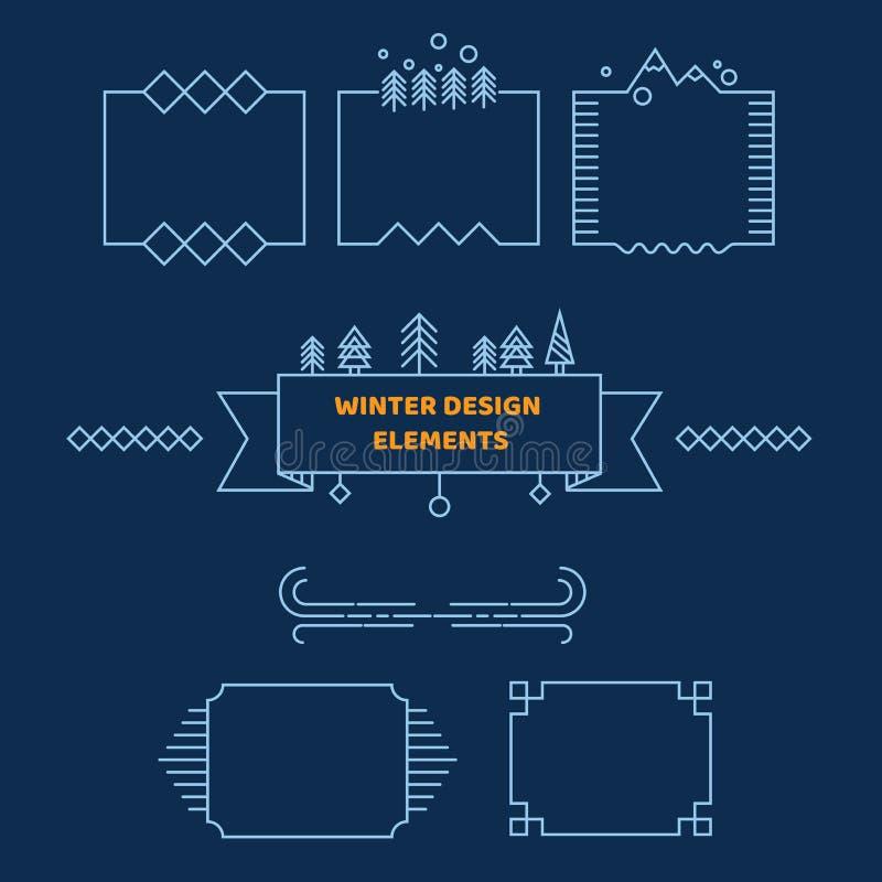 Elementos do esboço do inverno Bandeiras e quadros Uso em seus projeto, folheto, cartão e Web site da tampa ilustração do vetor