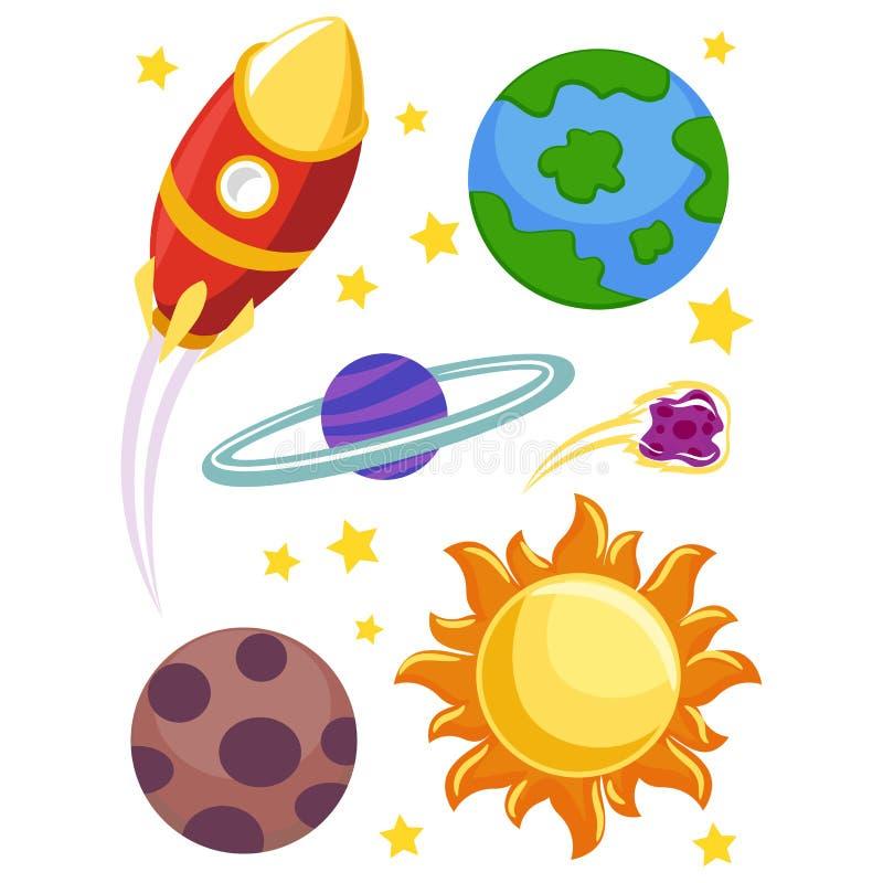 Elementos do espaço ilustração stock
