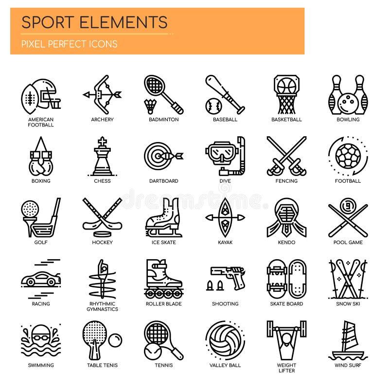Elementos do esporte, ícones perfeitos do pixel ilustração stock