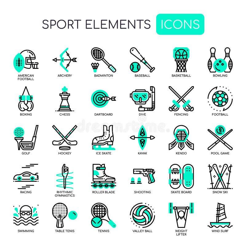 Elementos do esporte, ícones perfeitos do pixel ilustração royalty free
