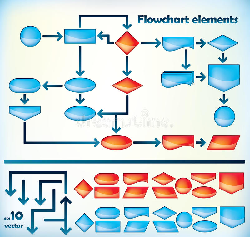 Elementos do fluxograma ilustração royalty free