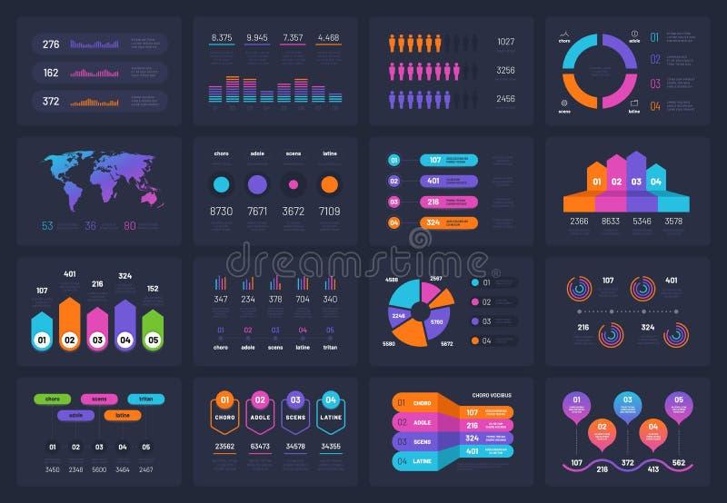Elementos do infograph do negócio Infograph financeiro do círculo do fluxograma do espaço temporal do diagrama da carta dos traba ilustração do vetor