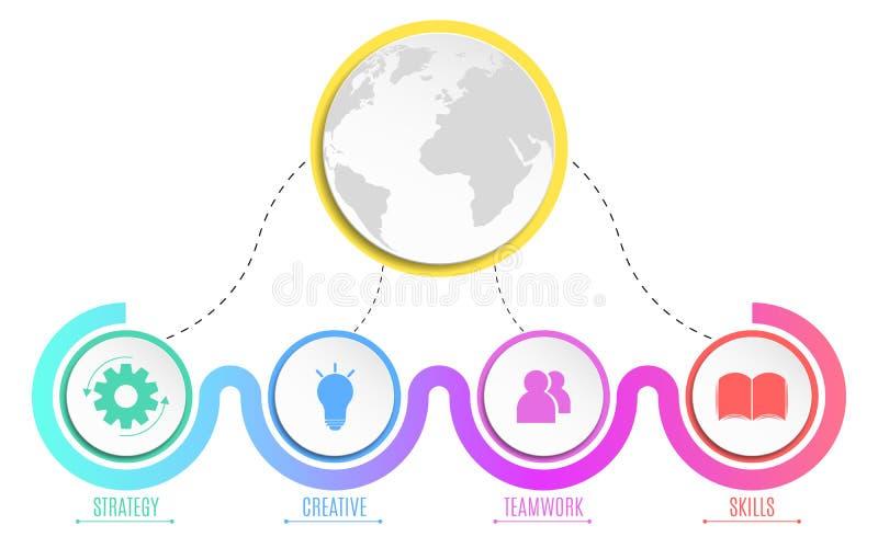 Elementos do infographics Círculos coloridos Estratégia empresarial Projeto para sua apresentação Símbolos coloridos Illustra do  ilustração stock