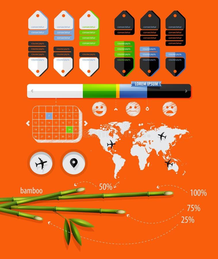 Elementos do infographics com bambu ilustração stock