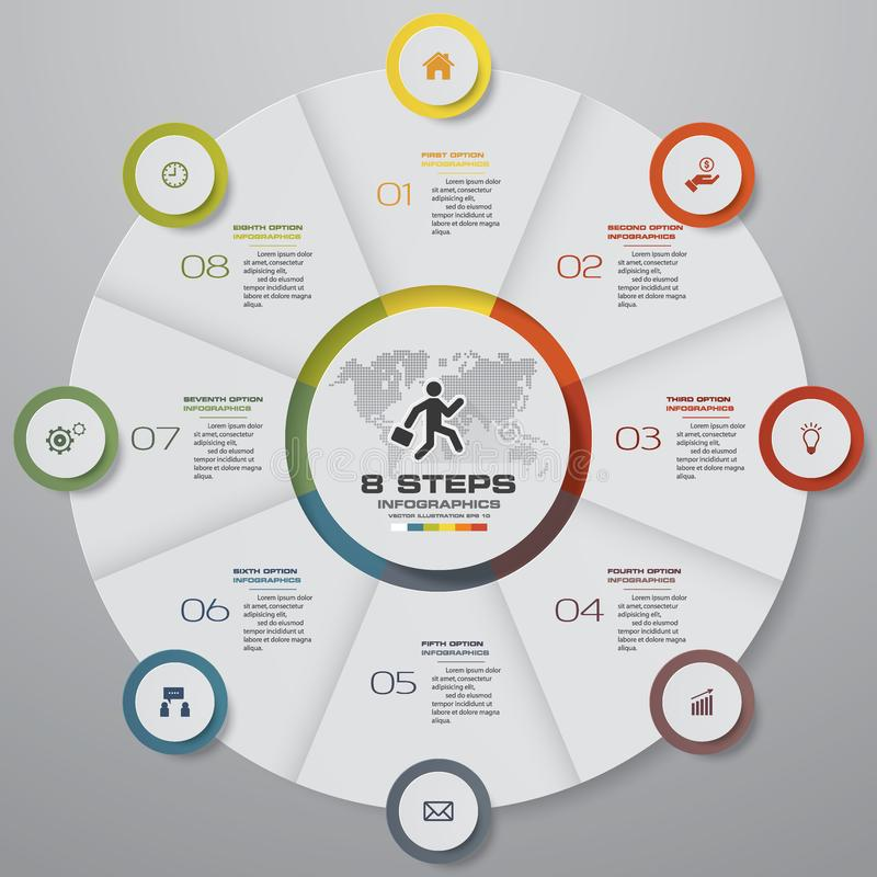 Elementos do infographics da carta de torta das etapas do sumário 8 Ilustração do vetor ilustração stock