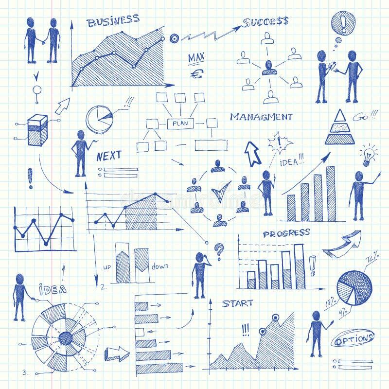 Elementos do infographics das cartas de negócio da garatuja ilustração stock