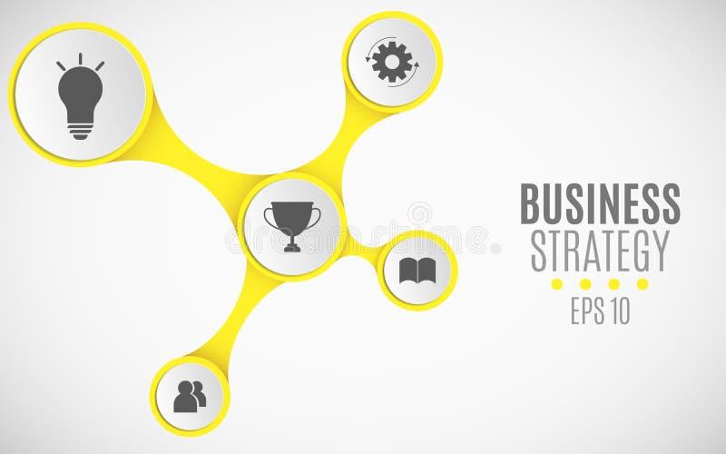 Elementos do infographics para projetos do negócio Carta de papel amarela Grandes, bandeiras de papel com ícones para a Web Illus ilustração royalty free