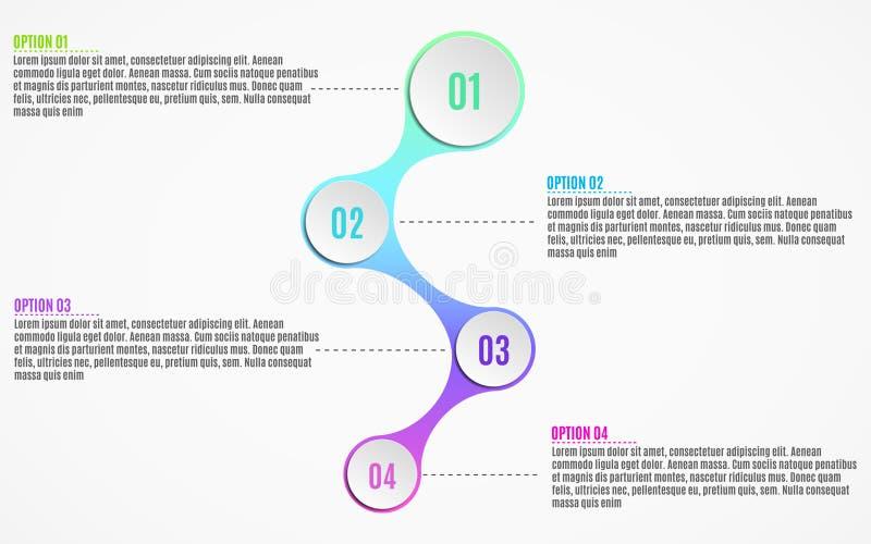 Elementos do infographics para projetos do negócio Carta de papel no estilo 3d Círculos volumétricos, de papel com números de opç ilustração royalty free