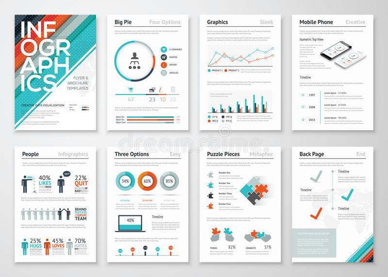 Elementos do inseto e do folheto de Infographic para o visualização dos dados comerciais ilustração royalty free