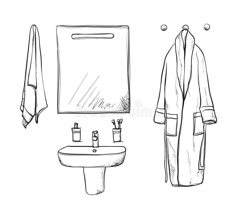 Elementos do interior do banheiro Espelho e bacia bathrobe ilustração do vetor