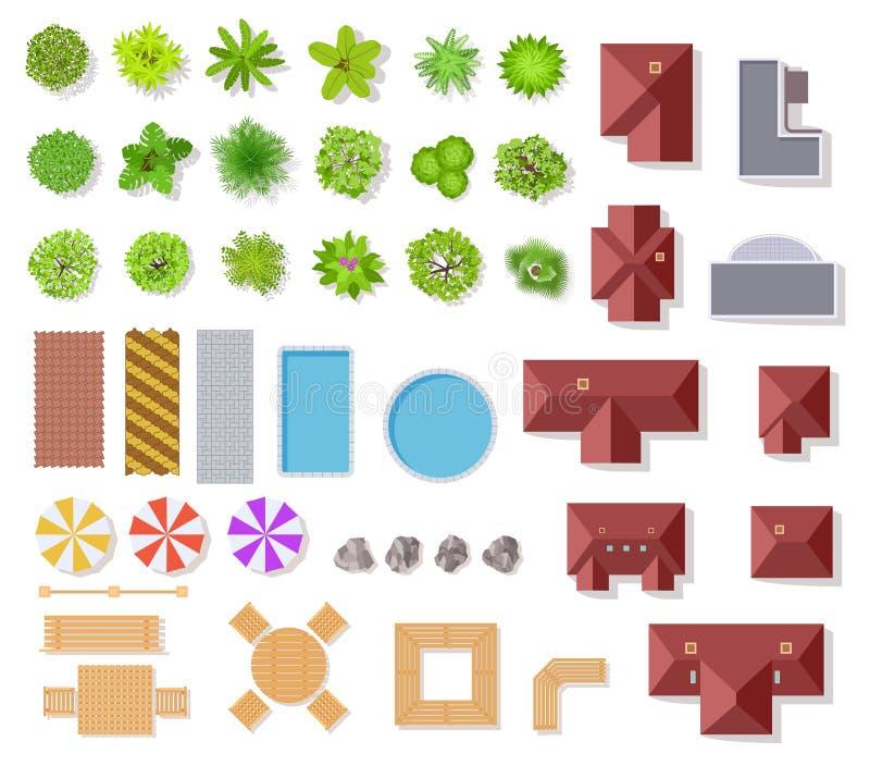 Elementos do jardim da vista superior Casas aéreas, árvores e arbustos verdes, associação e bancos para o plano arquitetónico da  ilustração do vetor