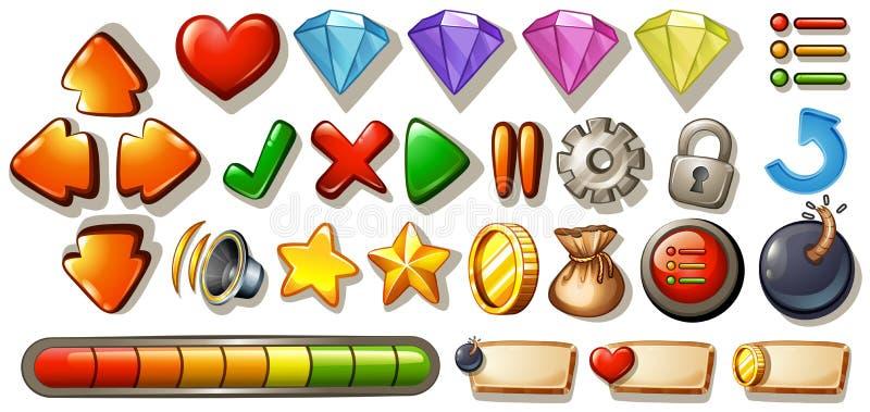 Elementos do jogo ilustração do vetor