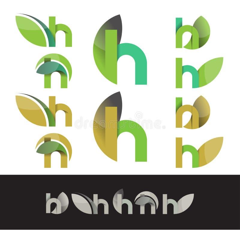 Elementos do logotipo da letra H do verde do eco do vetor ilustração royalty free