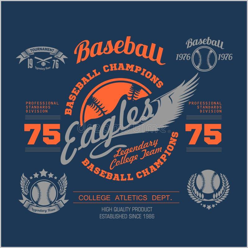 Elementos do logotipo, do emblema, do crachá e do projeto do basebol Ilustração do vetor ilustração stock