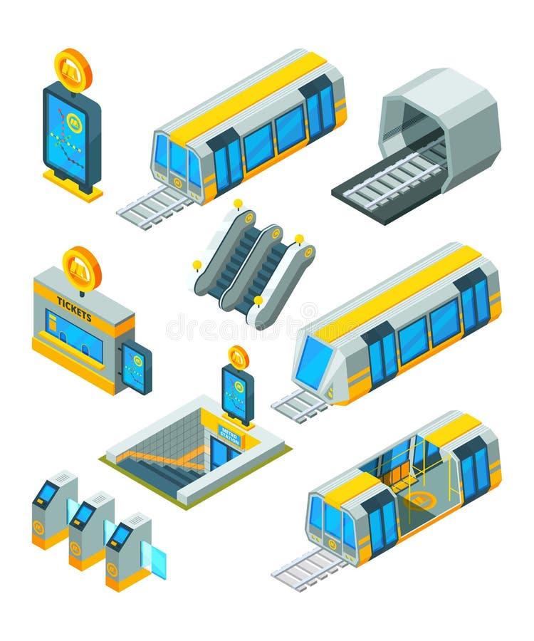 Elementos do metro do metro Extasie portas elétricas e os sinais treinam o túnel com a estação de metro moderna da escada rolante ilustração royalty free
