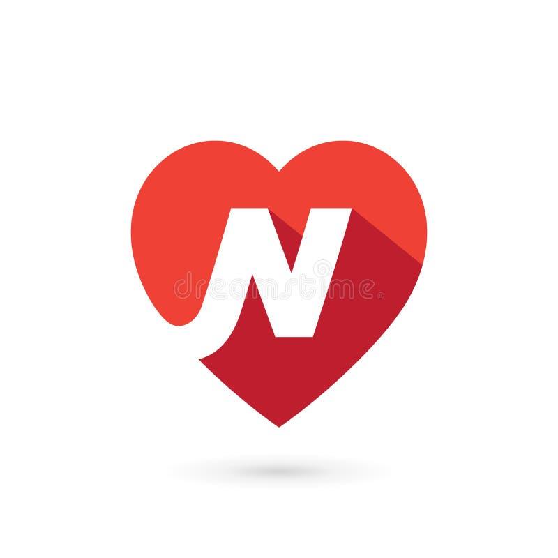 Elementos do molde do projeto do ícone do logotipo do coração da letra N ilustração stock