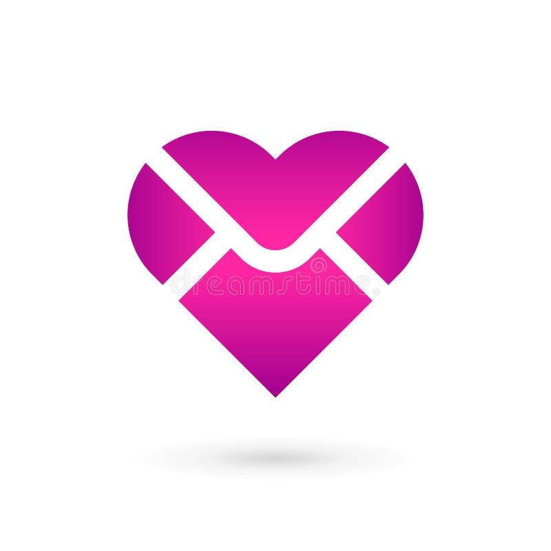 Elementos do molde do projeto do ícone do logotipo do coração do envelope do correio ilustração stock