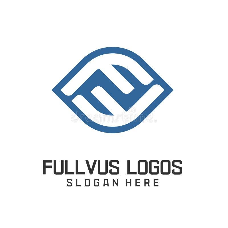 Elementos do molde do projeto do ícone do logotipo da letra F ilustração stock