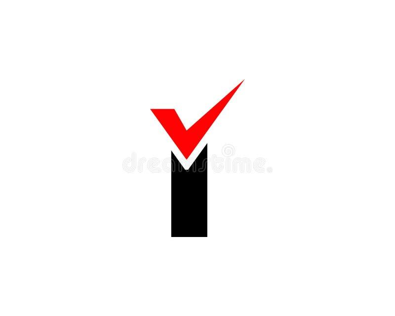 Elementos do molde do projeto do ícone do logotipo da marca de verificação da letra I ilustração stock