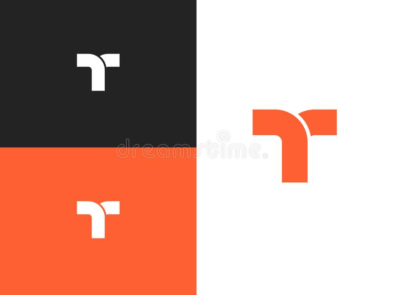 Elementos do molde do projeto do logotipo da letra T, ícone do conceito ilustração stock