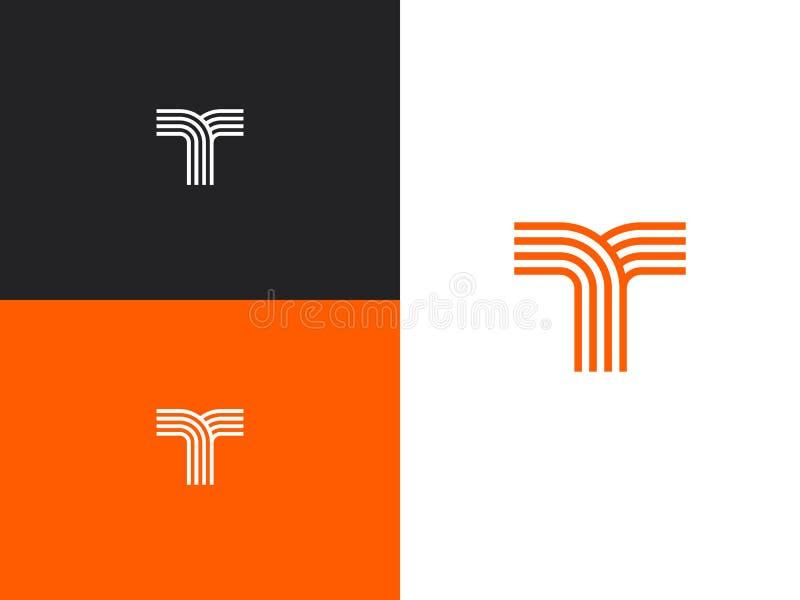 Elementos do molde do projeto do logotipo da letra T, ?cone do conceito ilustração do vetor