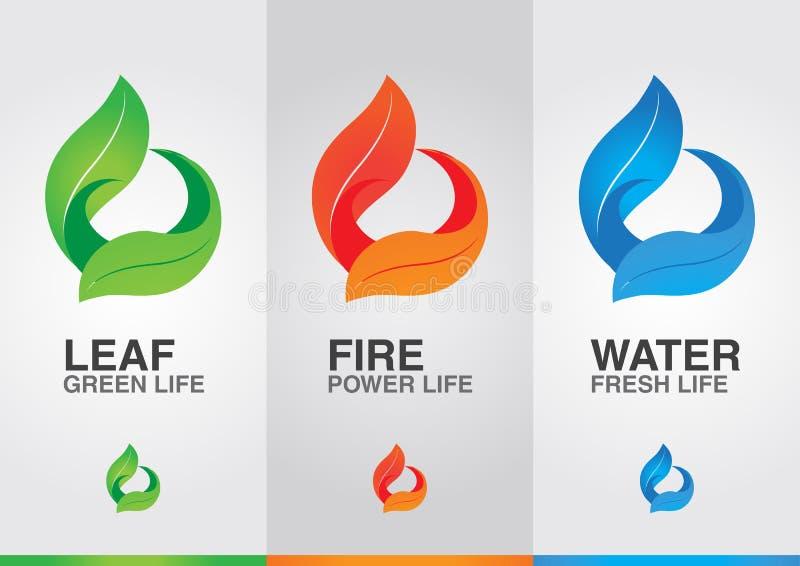 3 elementos do mundo Água do fogo da folha ilustração royalty free