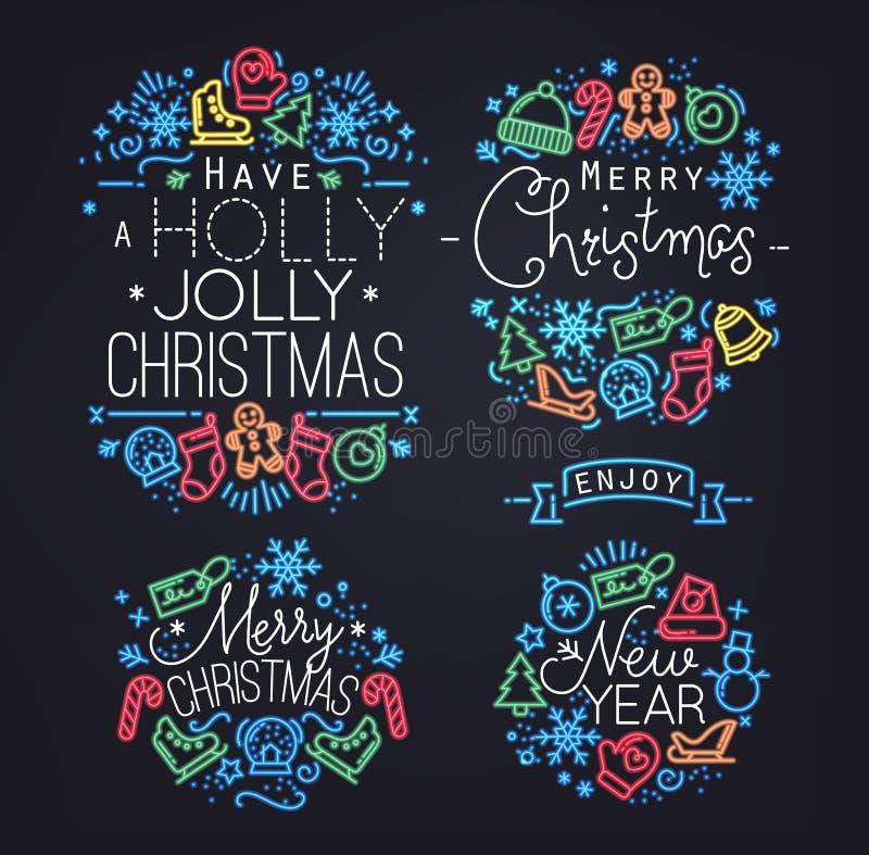 Elementos do Natal de néon ilustração do vetor