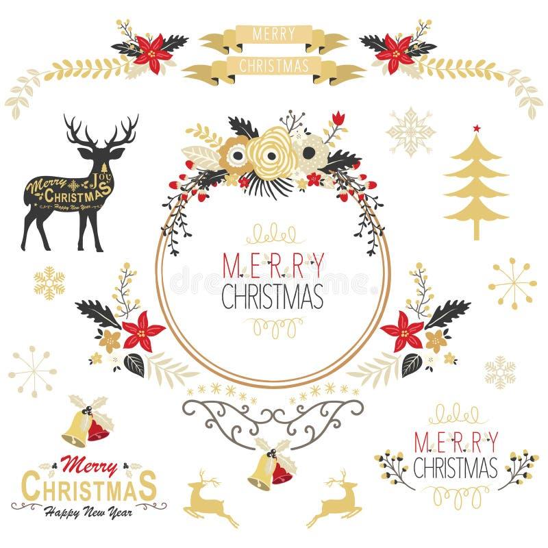Elementos do Natal do ouro do vintage ilustração stock