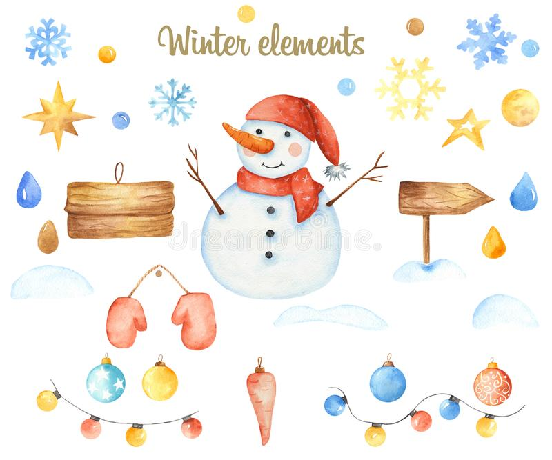 Elementos do Natal do inverno ilustração do vetor