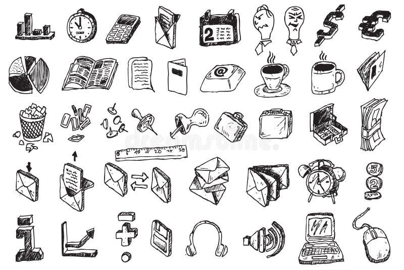 Elementos do negócio da tração da mão ilustração royalty free