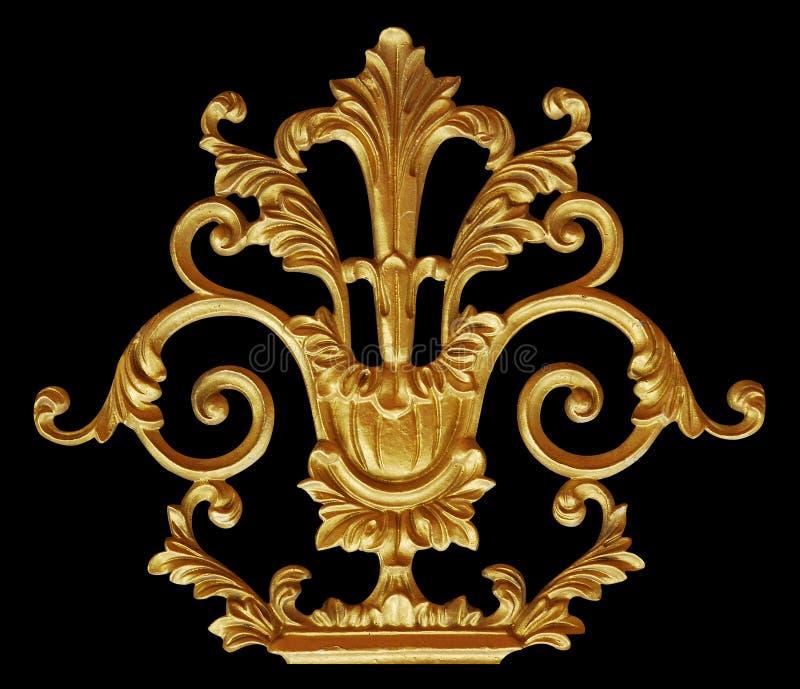 Elementos do ornamento, designs florais do ouro do vintage fotos de stock