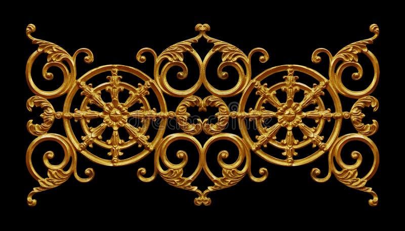 Elementos do ornamento, designs florais do ouro do vintage fotografia de stock