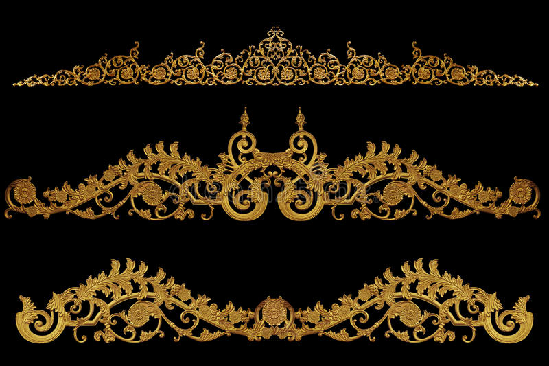 Elementos do ornamento, designs florais do ouro do vintage imagens de stock