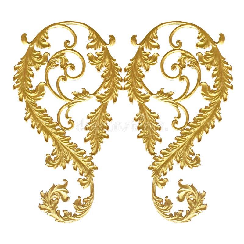 Elementos do ornamento, designs florais do ouro do vintage fotos de stock royalty free