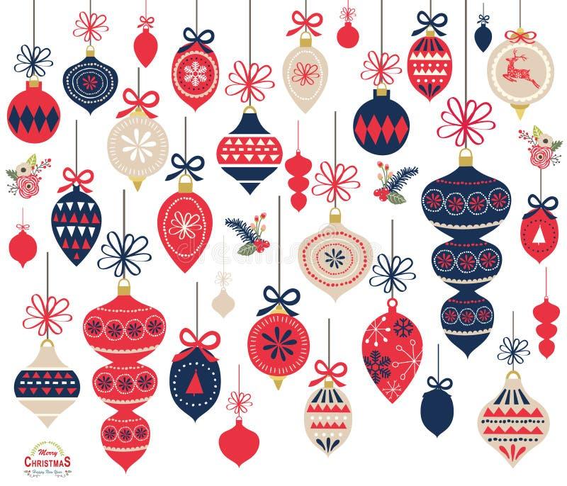 Elementos do ornamento do Natal ilustração royalty free