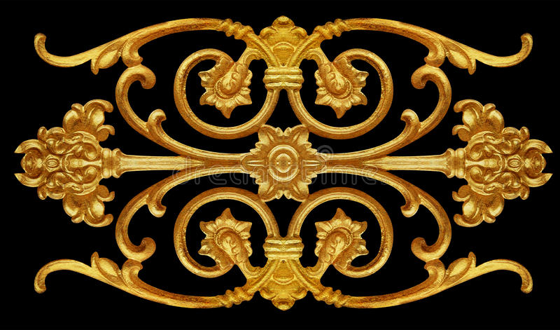 Elementos do ornamento, ouro do vintage floral fotografia de stock