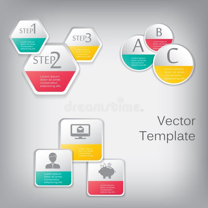 Elementos do papel do vetor 3d para infographic ilustração stock