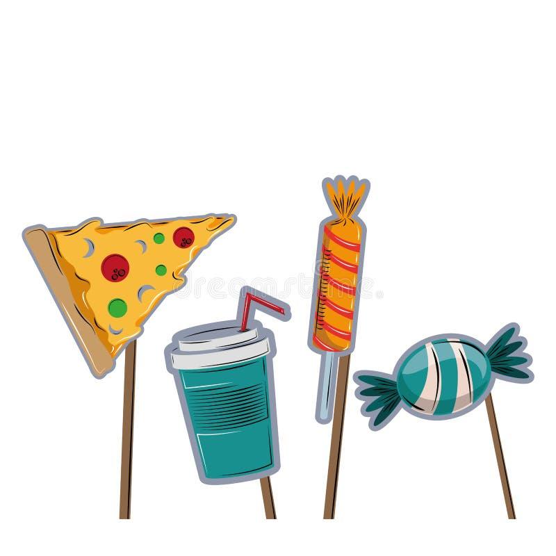 Elementos do partido do suporte da cabine ilustração royalty free
